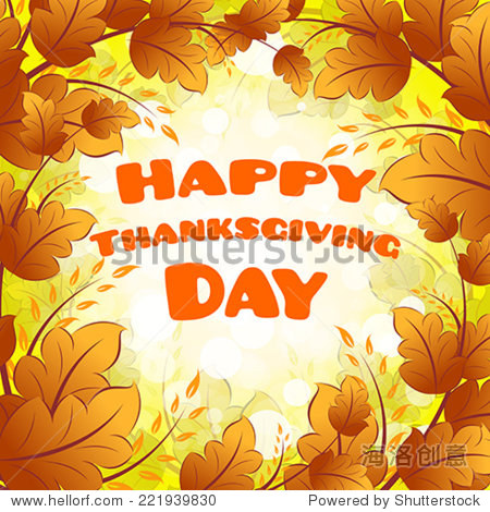 Happy Thanksgiving Day card with Leaves