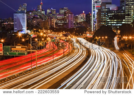 Australia NSW Sydney city Cahill expressway at sunset with long blurred traffic lights multi-lane motor road towards CBD  harbour bridge and illuminated landmarks