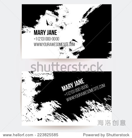 Set of two creative business card templates with artistic vector design. Abstract black ink grunge scribble texture.