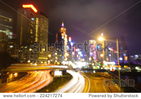 Hong Kong - Feb 8, 2014: Night View of Causeway Bay District in Hong Kong. Causeway Bay District in Hong Kong is famous place for tourism which has many famous shop and local foods.
