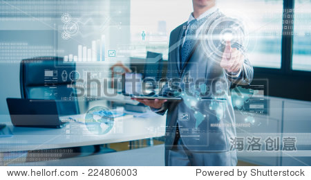 businessman working on 3D bar chart business strategy concept