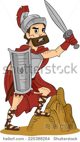 Illustration Featuring a Roman Warrior