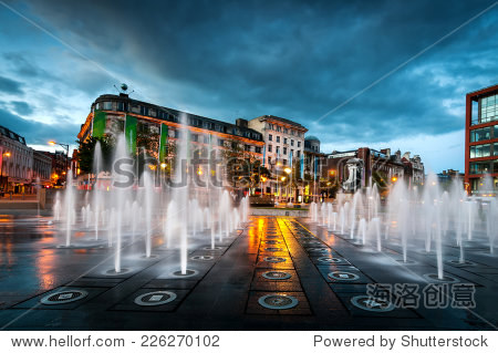 Fountains at Piccadilly garden in Manchester city center  England.
