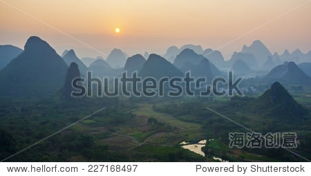 Beautiful sunset. The view from the top of the Vine Mountains near Guilin - China