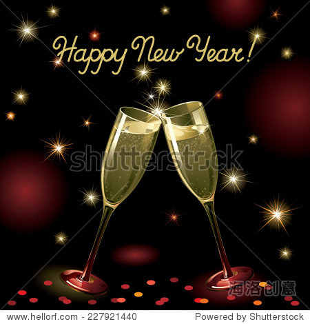 Happy new year! Vector holiday background with two Champagne Flutes  many stars  fireworks on night dark sky and text
