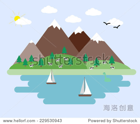 Abstract landscape with mountains and sea. Vector illustration.