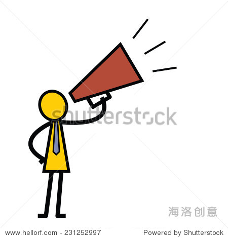 Character of businessman speaking with megaphone. Simple design in stick man style.