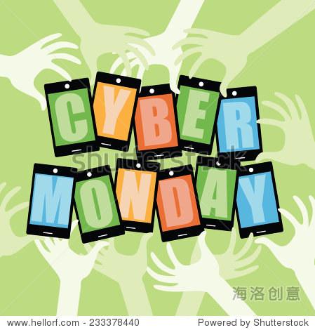 Flat design Cyber Monday hands and smartphones EPS 10 vector