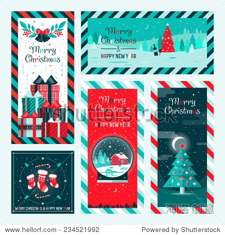 Christmas and Happy New Year greeting card templates. Happy holidays. Christmas card  poster  banner  frame. Flat vector illustration