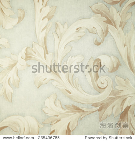 Vintage grey victorian wallpaper with beige baroque vignette. Square toned image  instagram effect