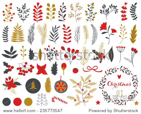 Collection of Vintage Merry Christmas And Happy New Year flowers. Greeting stylish illustration of winter romantic flowers  berries  leafs  wreaths  laurel. Good for cards or posters