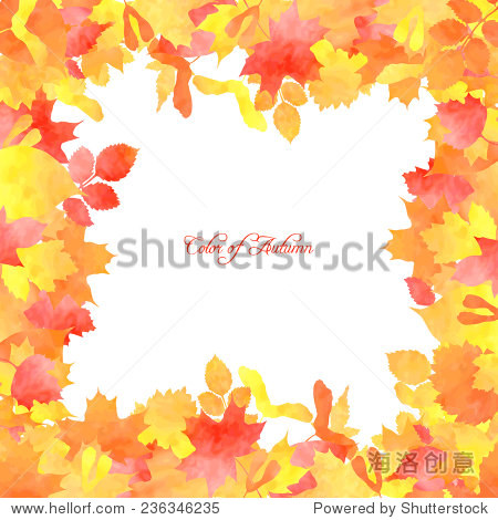 Floral template with silhouettes of autumn leaves painted by watercolor  vector illustration