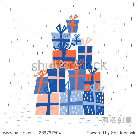 Christmas presents blue pile