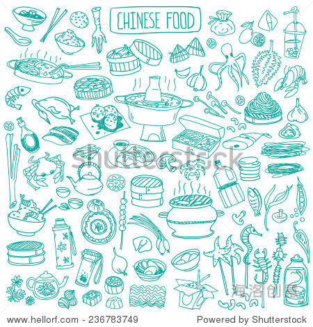 Big set of various doodles  hand drawn rough simple Chinese cuisine food sketches.