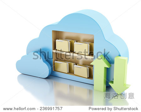 3d illustration. File storage in cloud. Cloud computing concept on white bakcground