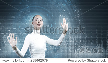 Young pretty asian woman touching digital hologram
