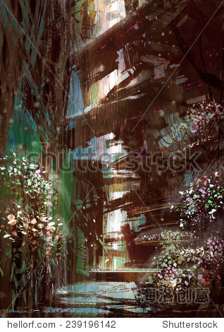 raining in sci-fi alley with flowers digital painting illustration