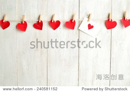 Red heart message card with red heart paper cut out