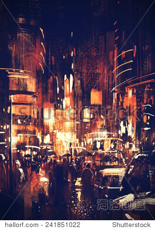 digital painting of city street at night with colorful lights vintage style illustration