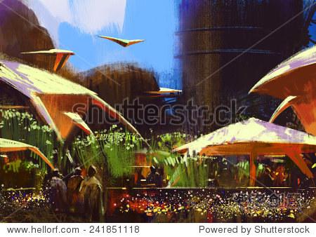 digital painting of fantasy village illustration