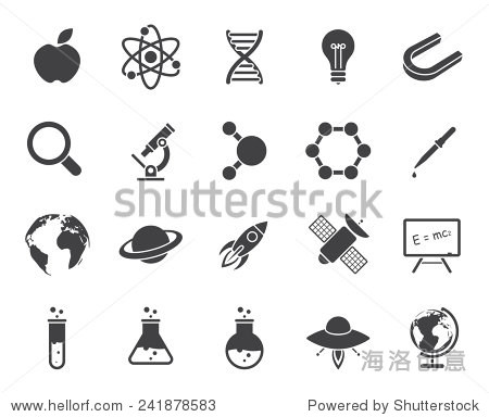 Science icons (modern flat design)