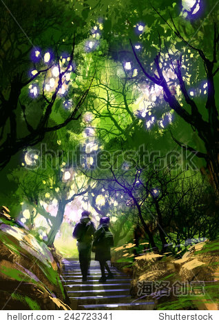 couple climbing up stairs in the park digital painting illustration
