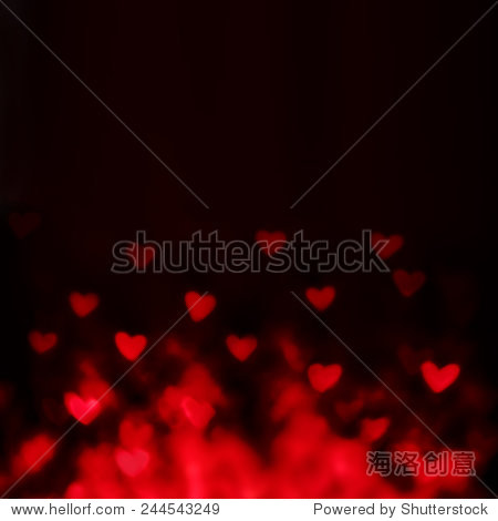 Abstract Valentine's day background with red hearts. Glow Colorful Soft Hearts for Valentines Day Background Design