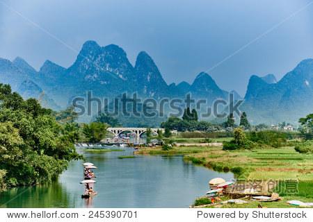 Guangxi, China - September 29 , 2014 :li river between Guilin and Yangshuo in Guangxi province  China