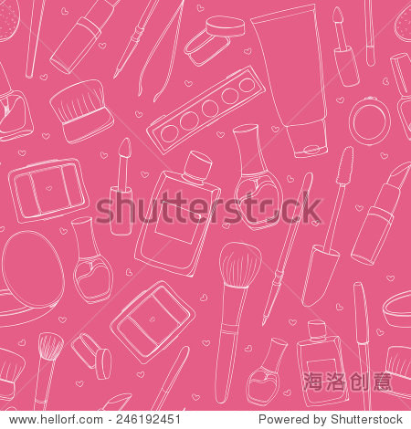 Makeup background with cosmetic tubes  tools  nail polish  lipstick  brushes and other. Seamless vector texture.