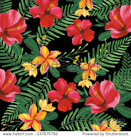 Floral pattern with tropical flowers.