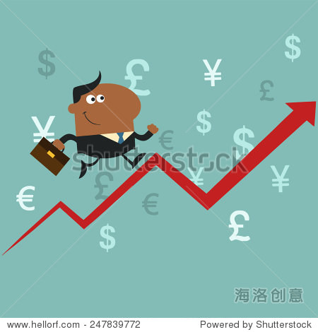 African American Manager Running Up A Success Arrow.Flat Style Raster Illustration