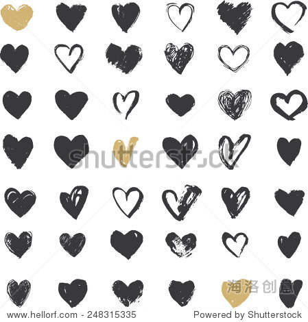Heart Icons Set  hand drawn icons and illustrations for valentines and wedding