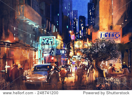 colorful painting of night street illustration art