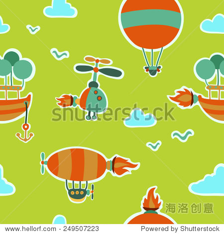 Children cute seamless pattern with  and aeronautical machines  clouds and birds