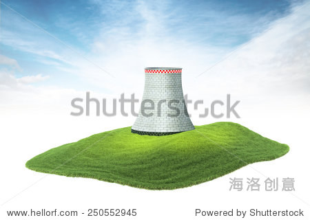 3d rendered illustration of an island with cooling tower of nuclear power plant floating in the air
