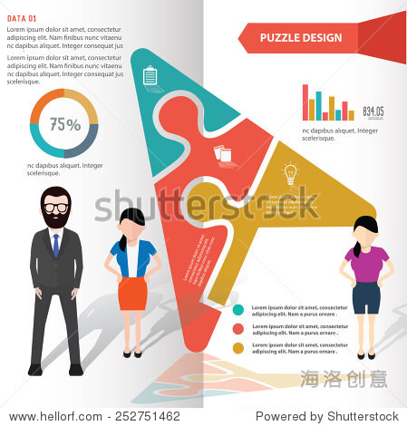 Click puzzle info graphic design and character clean vector