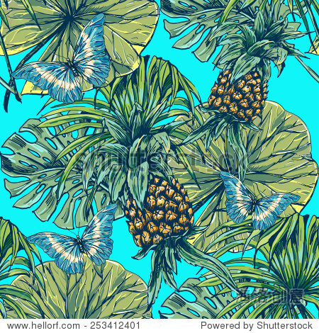 Beautiful seamless floral jungle pattern background. Tropical palm leaves with butterflies and pineapples  plants