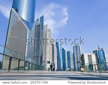 SHANGHAI-DEC. 2, 2014. Skyscrapers at Lujiazui, a national-level development zone designated by government. In 2005, State Council reaffirmed positioning of Lujiazui area as finance and trade zone.