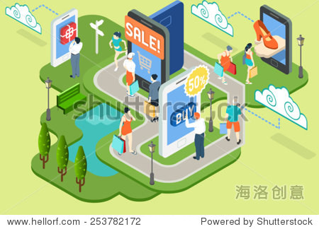Store Infographic Isometric Mobile Virtual Shopping Buy Concept Online Shopping. Fashion Shop Online Sale Concept 3D Flat Vector Illustration. Mobile Shopping App. Virtual Life Style.