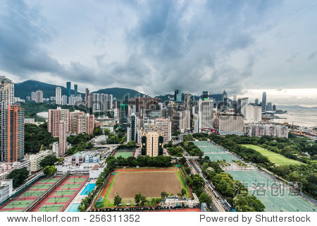 cityscape at Victoria Park Causeway Bay in Hong Kong