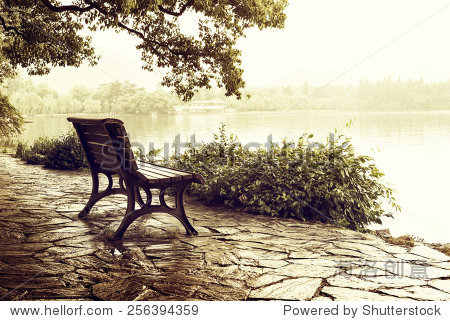Lakeside benches, China Hangzhou West Lake.