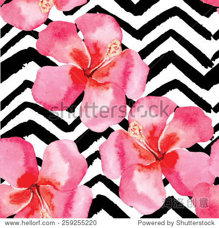 Hand drawn tropical flower hibiscus watercolor seamless pattern  black and white zigzag background floral fashion painting