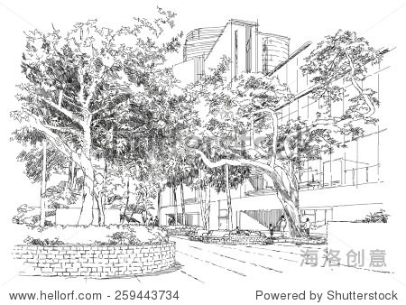 sketch of city landscape bench in the park under trees illustration