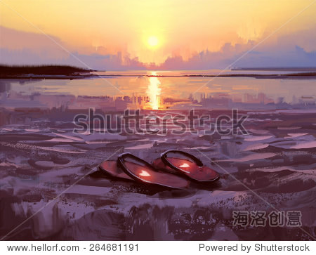 flip flops with lovely hearts on the beach at sunset digital painting illustration