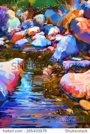 beautiful river amongst colorful stones digital painting illustration