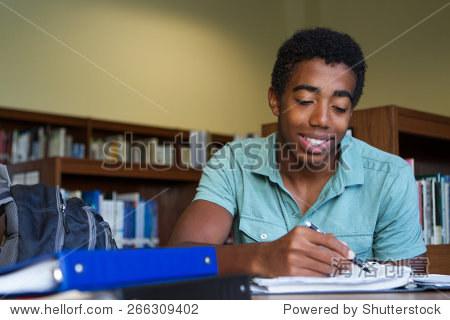 African American boy doing homework