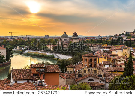 Panoramic view of Verona at sunset in Italy