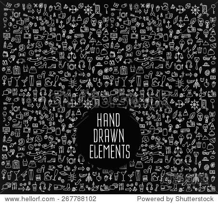 Hand drawn icons and elements pattern. Digital illustration