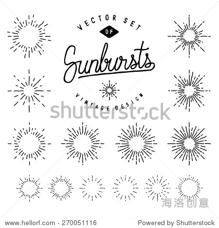 Collection Of Retro Sunburst Shapes For Your Design. Set Of Vintage Light Rays. Hand-Drawn Vector Design Elements.