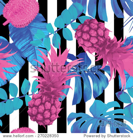 tropical fruits and palm leaves pattern  striped background